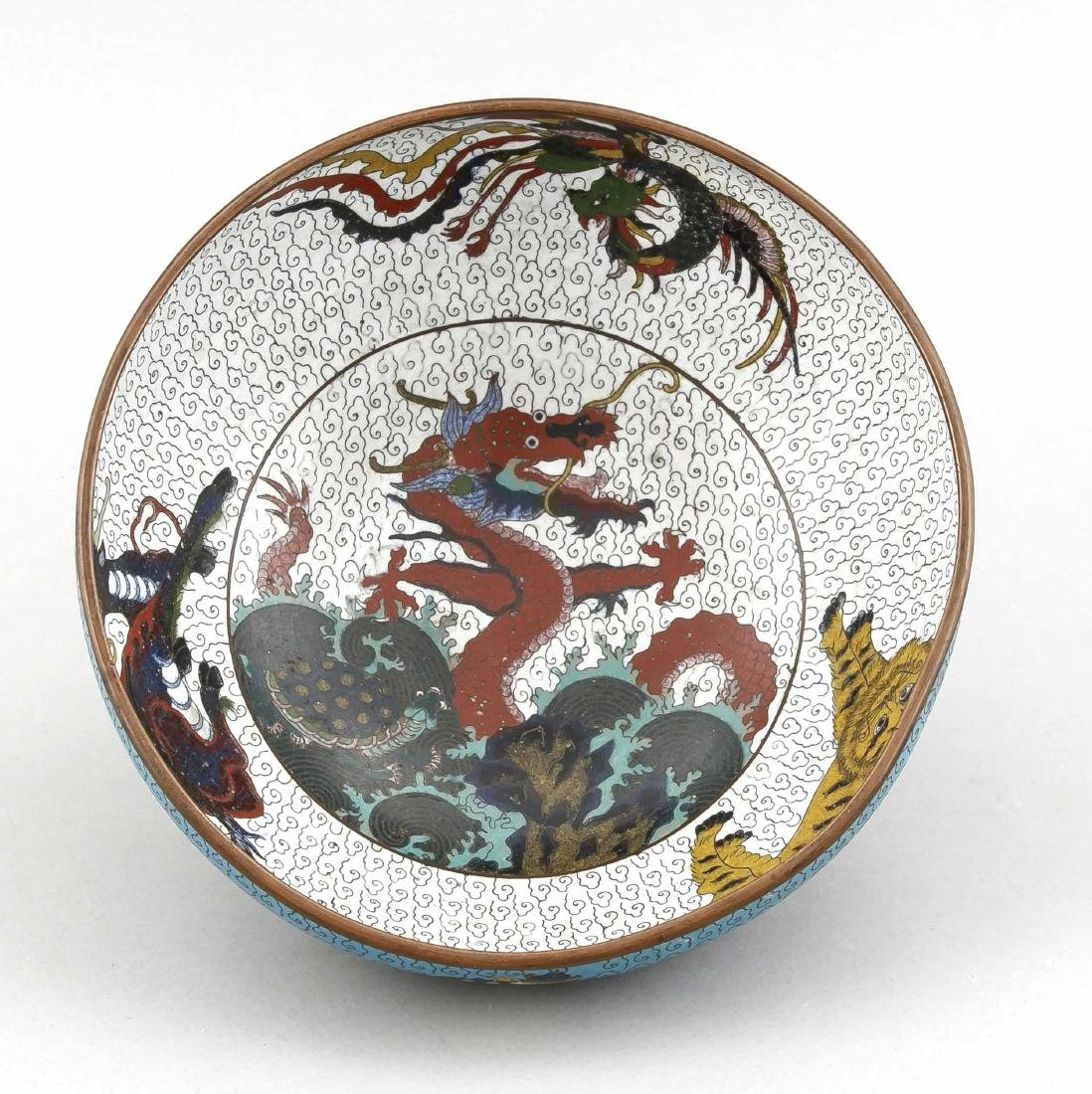 A 19th-century Chinese cloisonné bowl, the side with 4 - 2