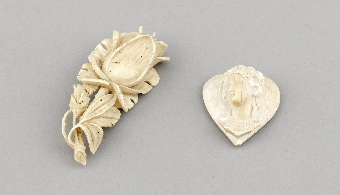 Two 19th-century bone carvings, England/France, one