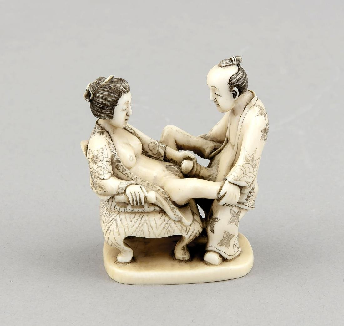 A 19th-century Japanese okimono, ivory carving,