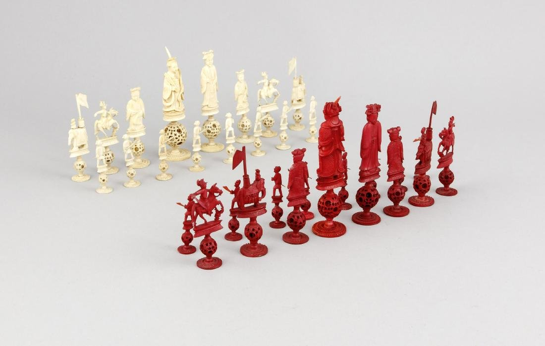 A set of 19th-century Chinese Canton chess figures,