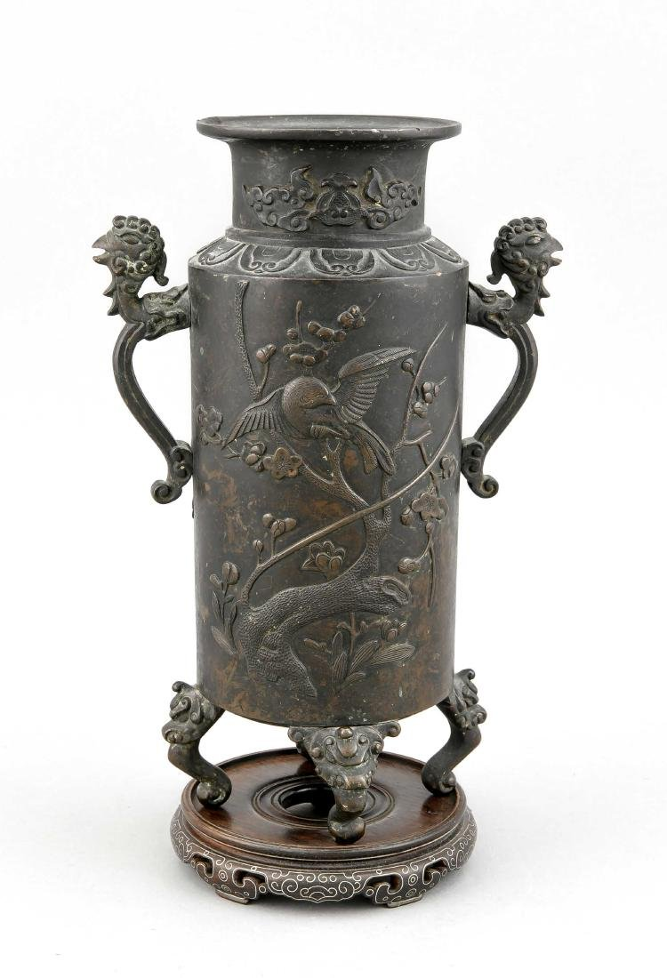 A 19th-century Chinese bronze vase, of cylinder form on