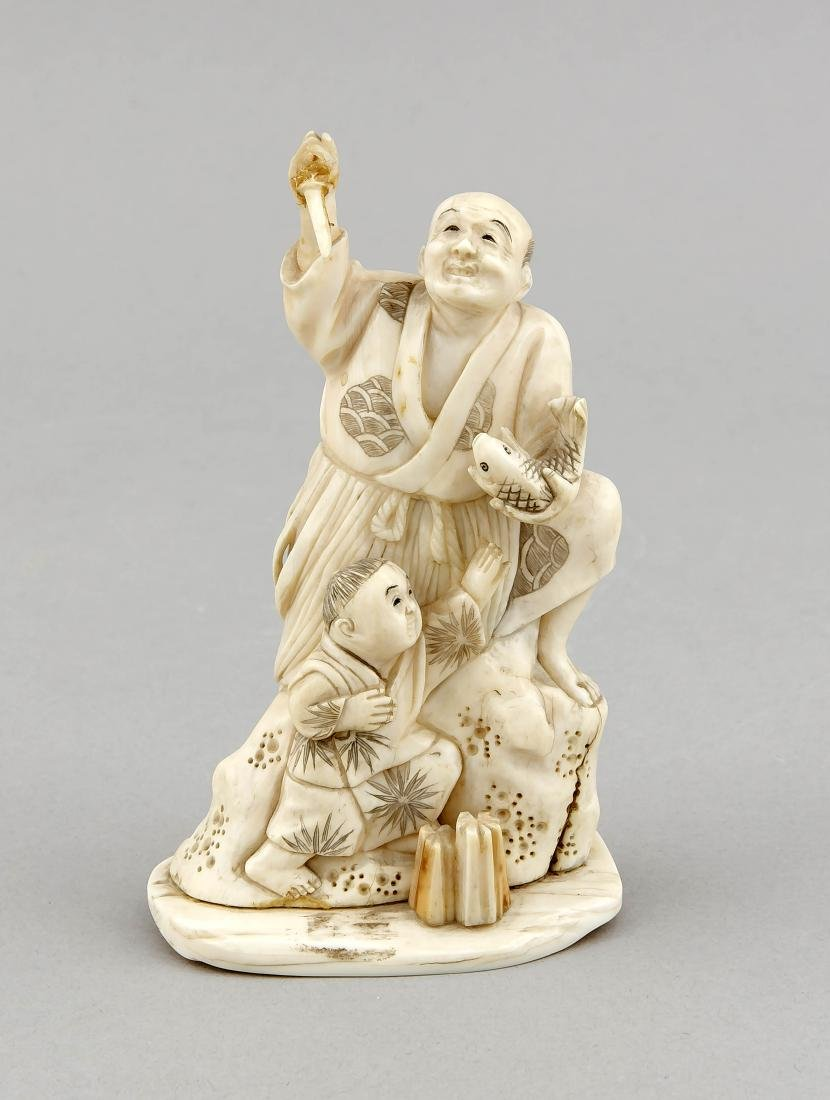 A Japanese 19th-century okimono, carved ivory with