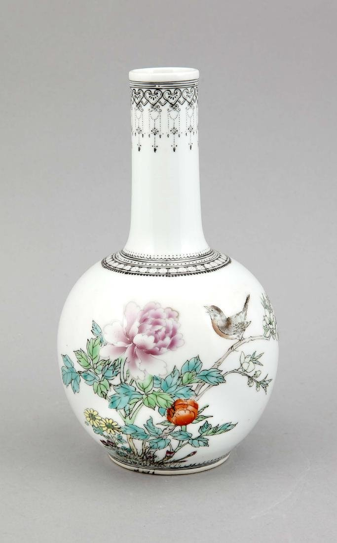 A small 20th-century Chinese famille rose vase, of