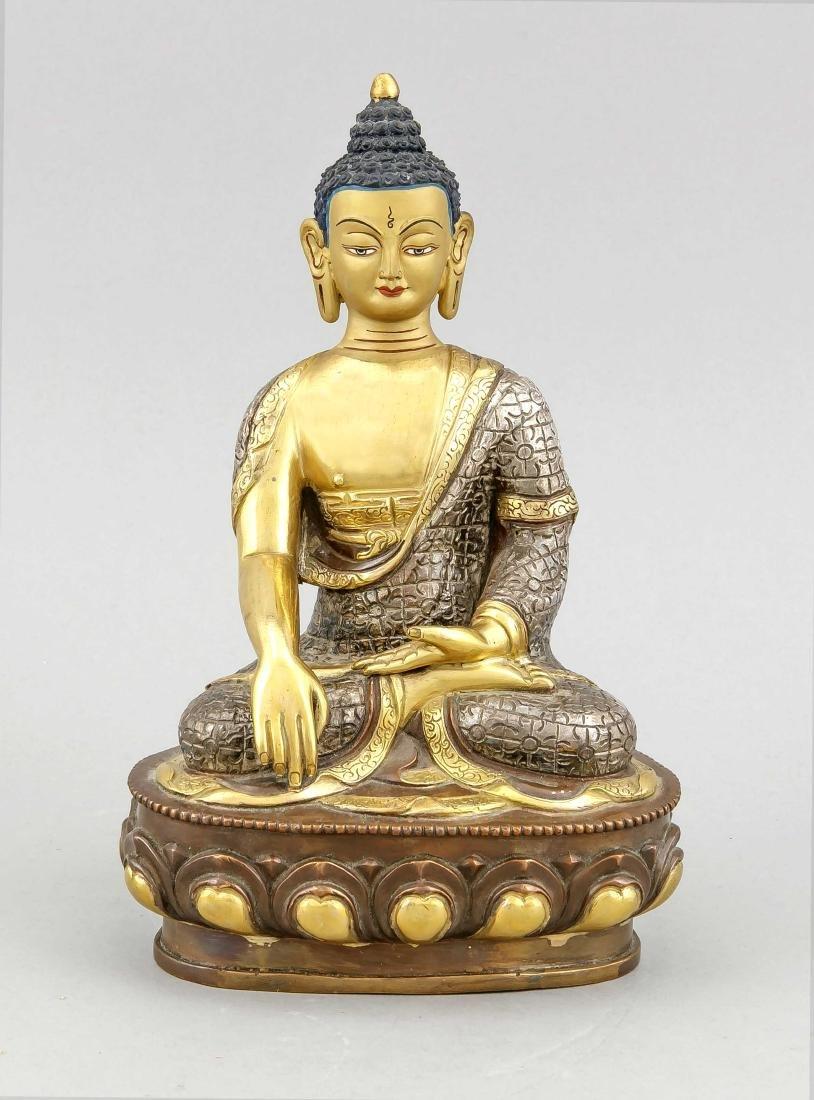 A 20th-century Buddha Padmasana on lotus base,