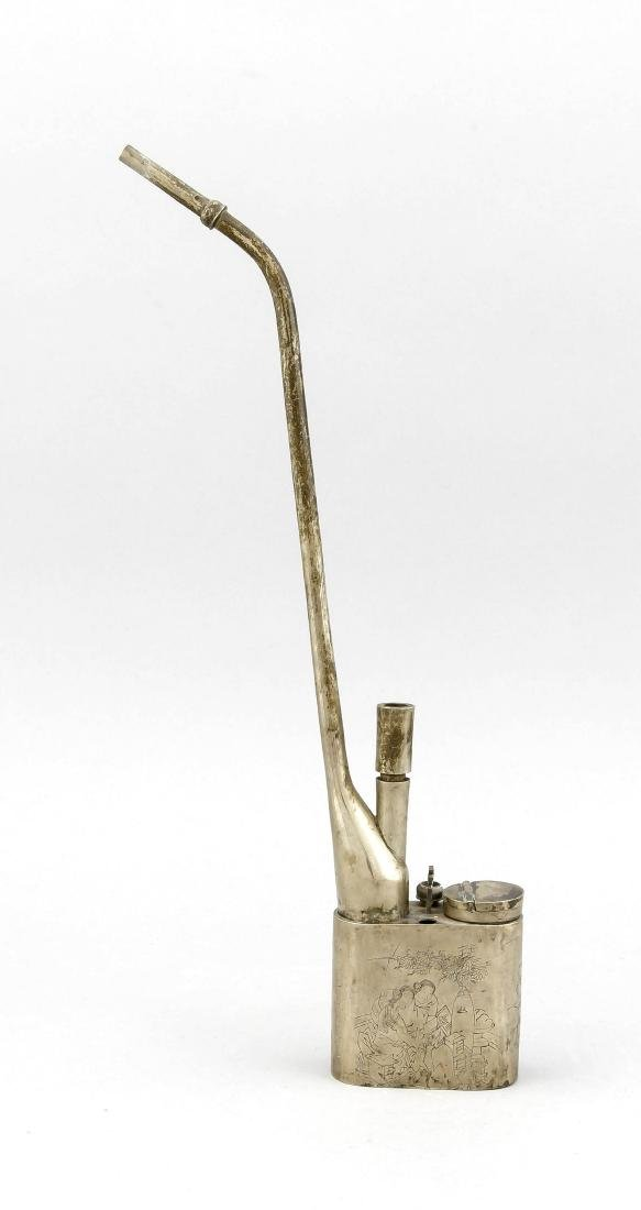 A Chinese opium pipe, 1st half 20th c., nickel,