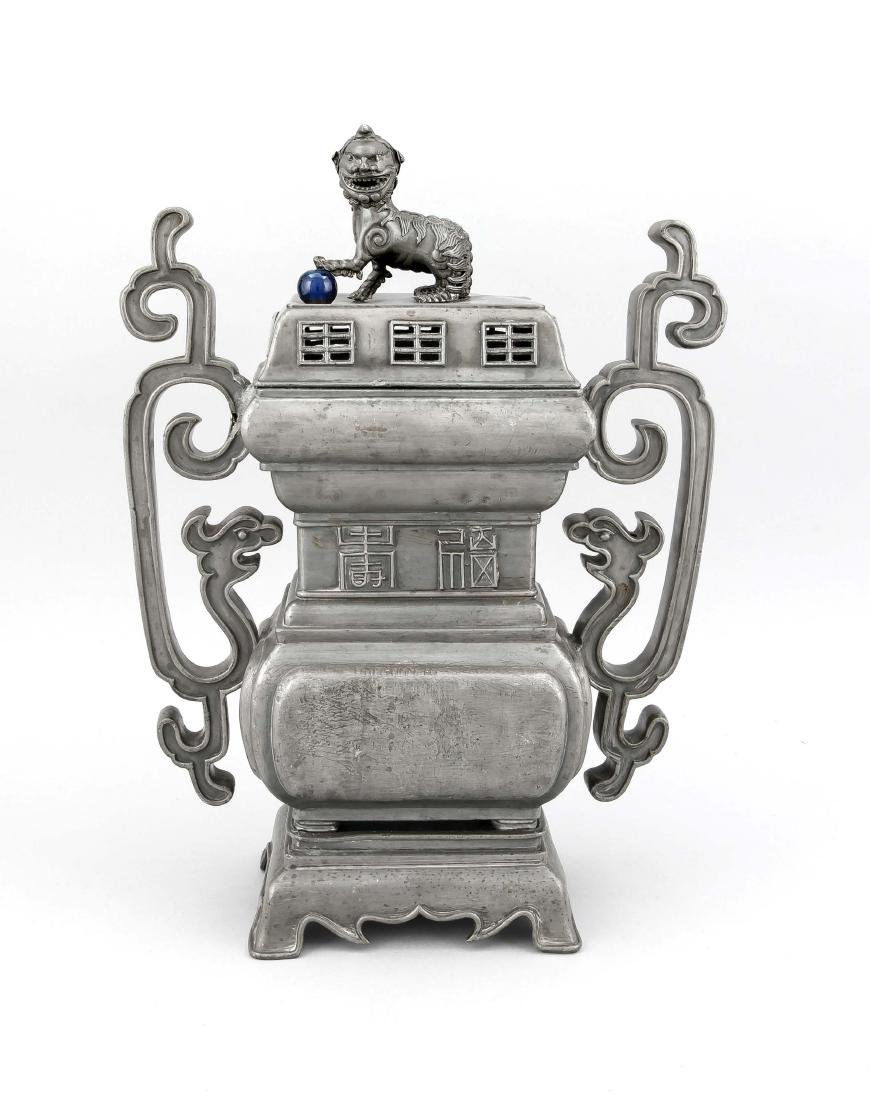 A Chinese pewter censer, presubably 20th c., the