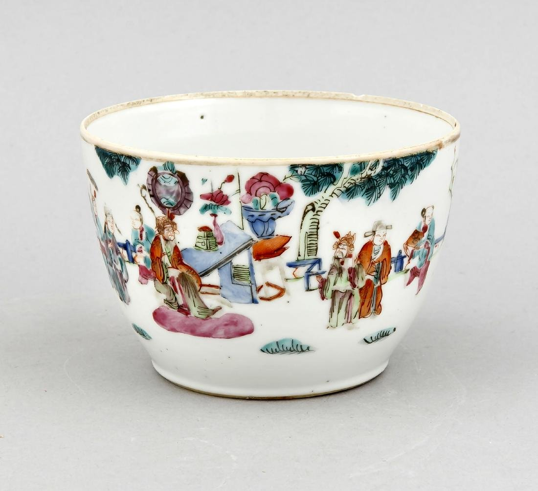 A small Chinese famille rose bowl around 1900, the