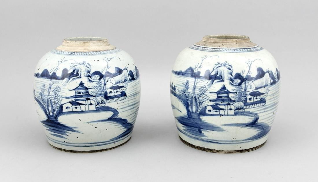 A pair of 19th-cenntury Chinese ginger pots, cobaltblue