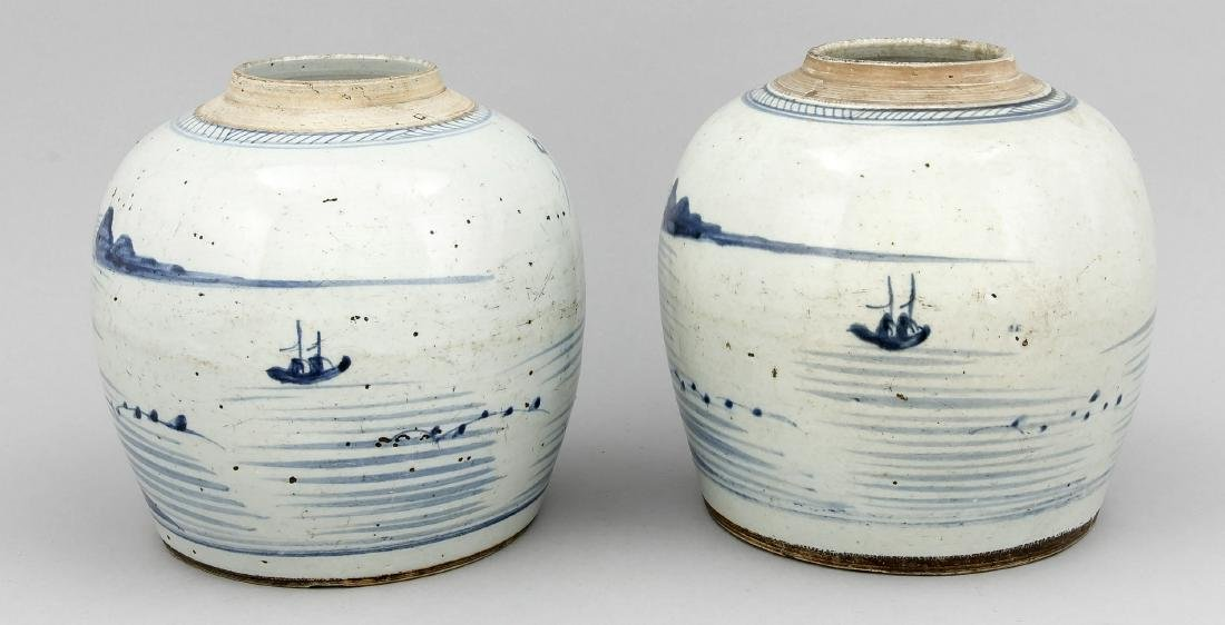 A pair of 19th-cenntury Chinese ginger pots, cobaltblue - 2
