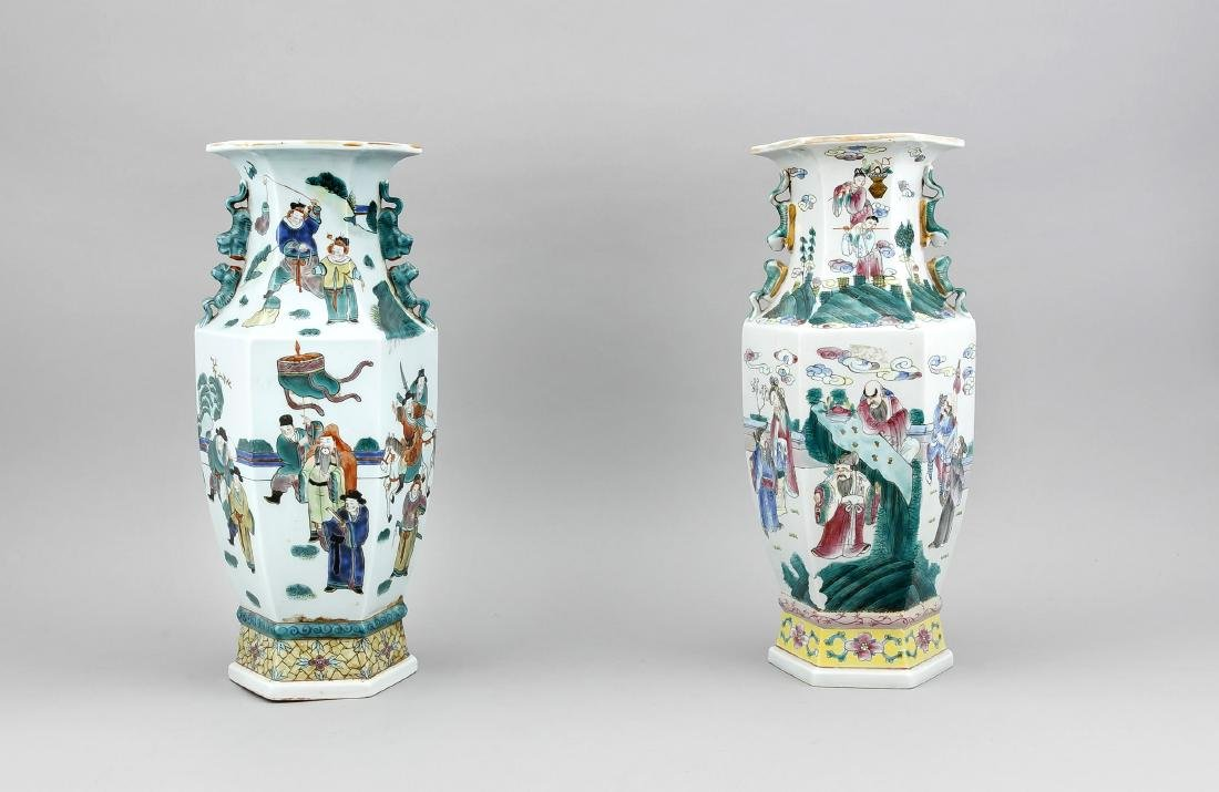 A pair of Chinese hexagonal baluster vases, 1st half