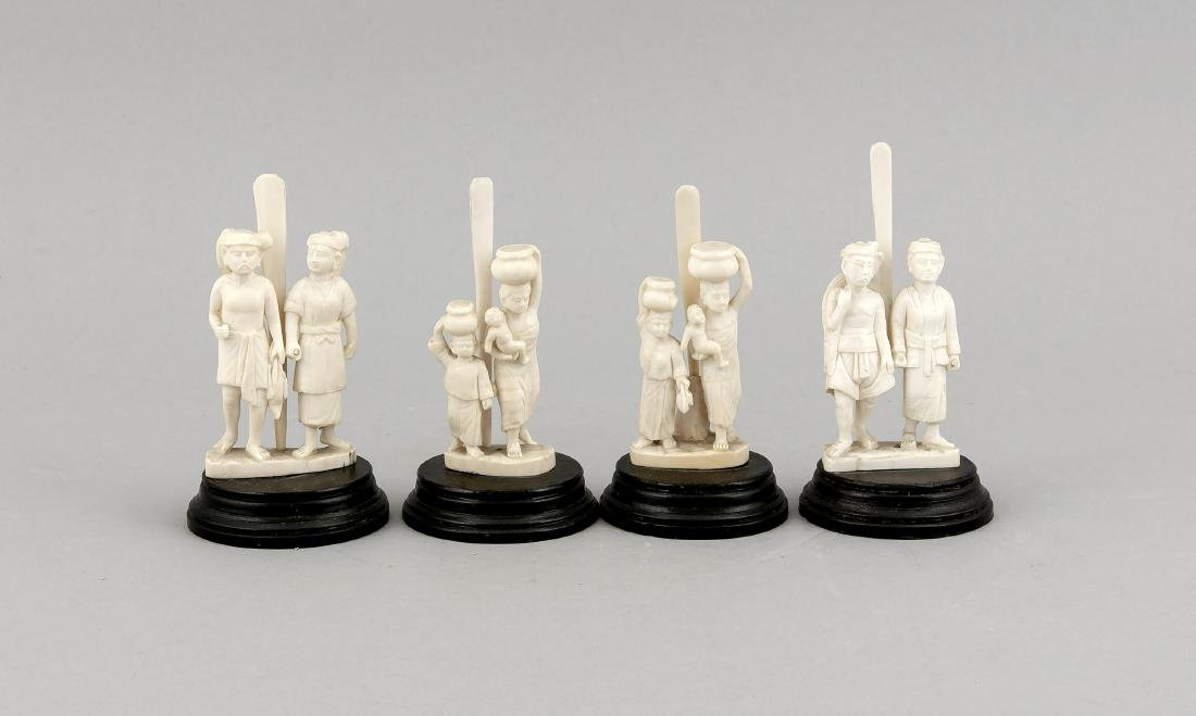 4 Asian ivory sculptures as card holders, 19th/20th c.,