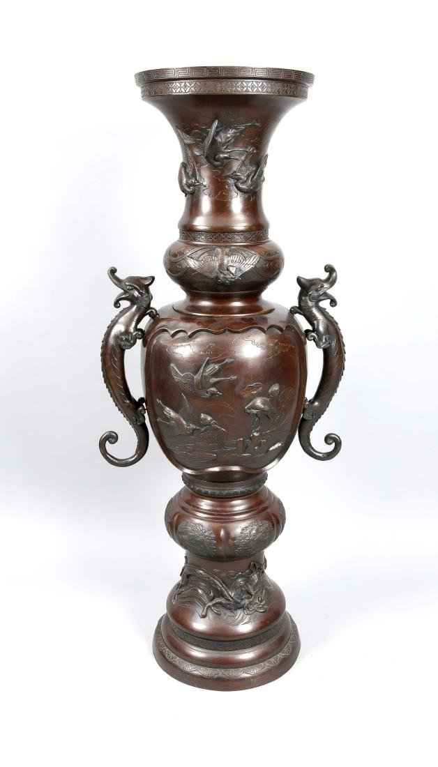 A monumental 3-part Chinese floor vase, 1st half 20th
