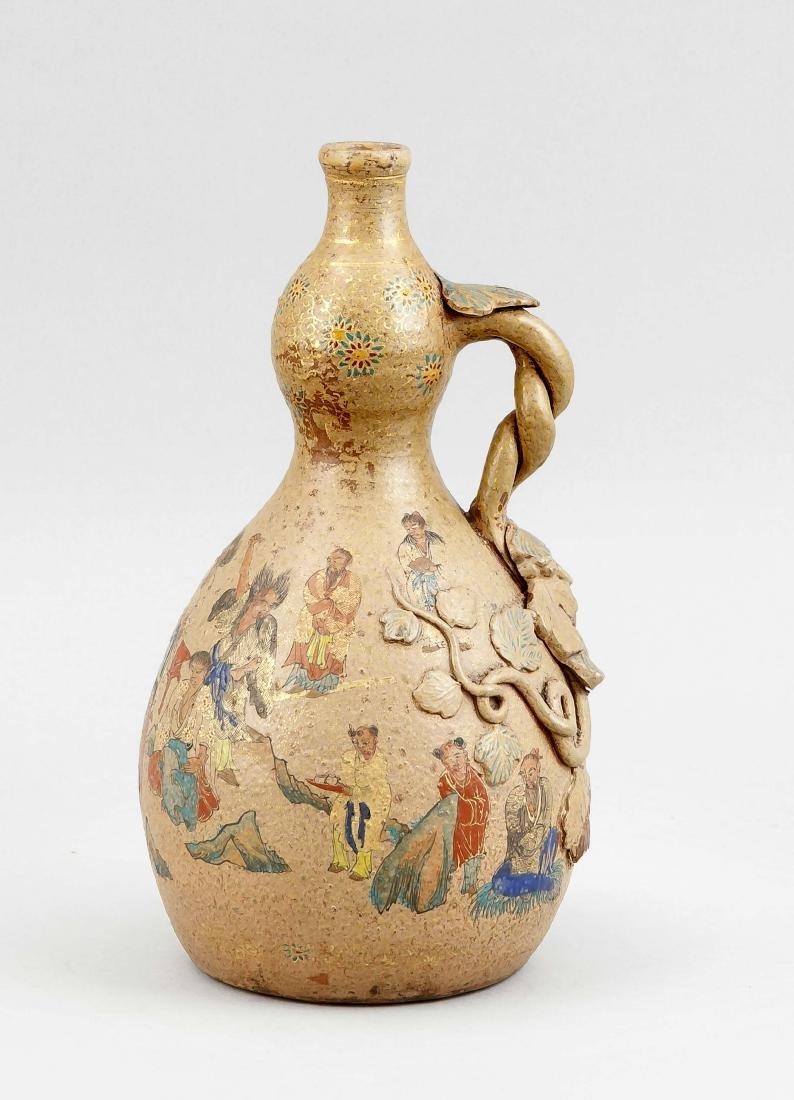 A Japanese flask, presumably 19th c., Satsuma?,