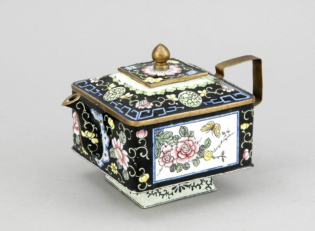 Square tea pot with matching stand, China 20th