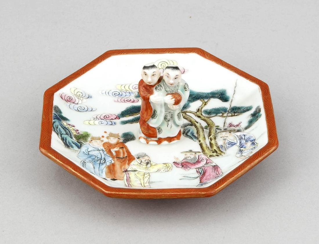 Figurative handle octagonal bowl, China underglaze blue