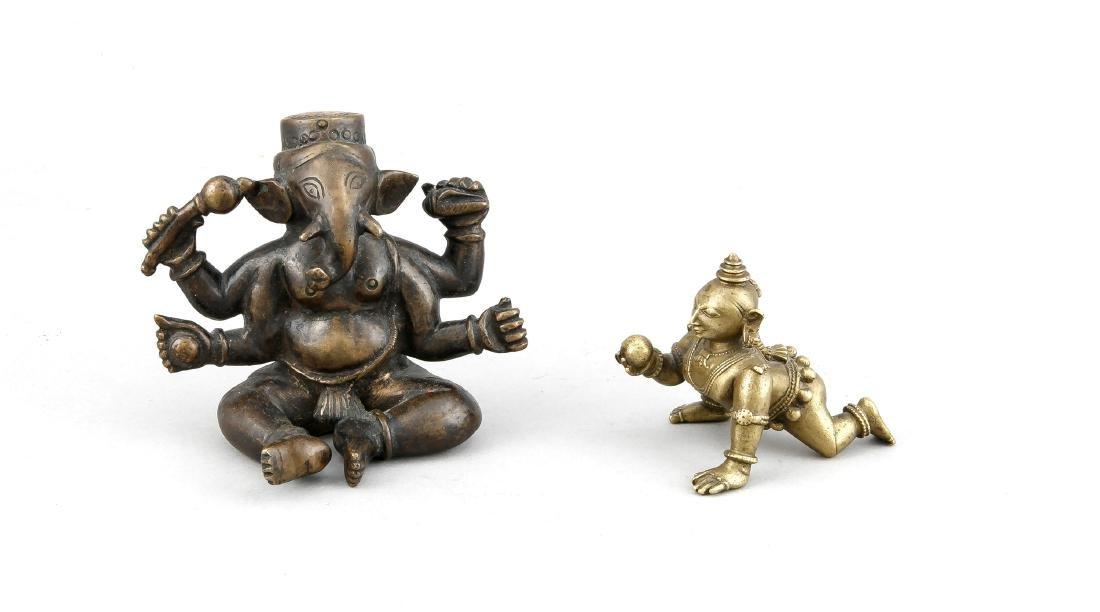 2 Figuren Bronze, Indien (wahrsch. Orissa), 1. H. 20.