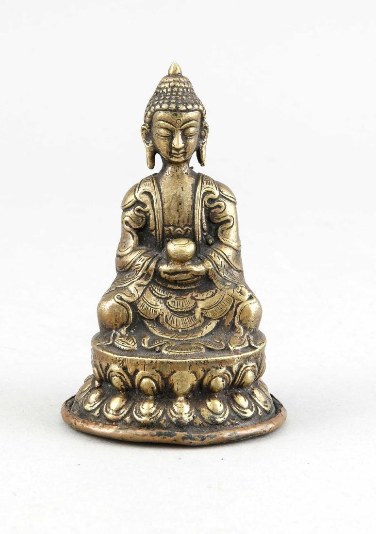 Kleiner Buddha Shakyamuni, Tibet/China um 1900, Bronze,