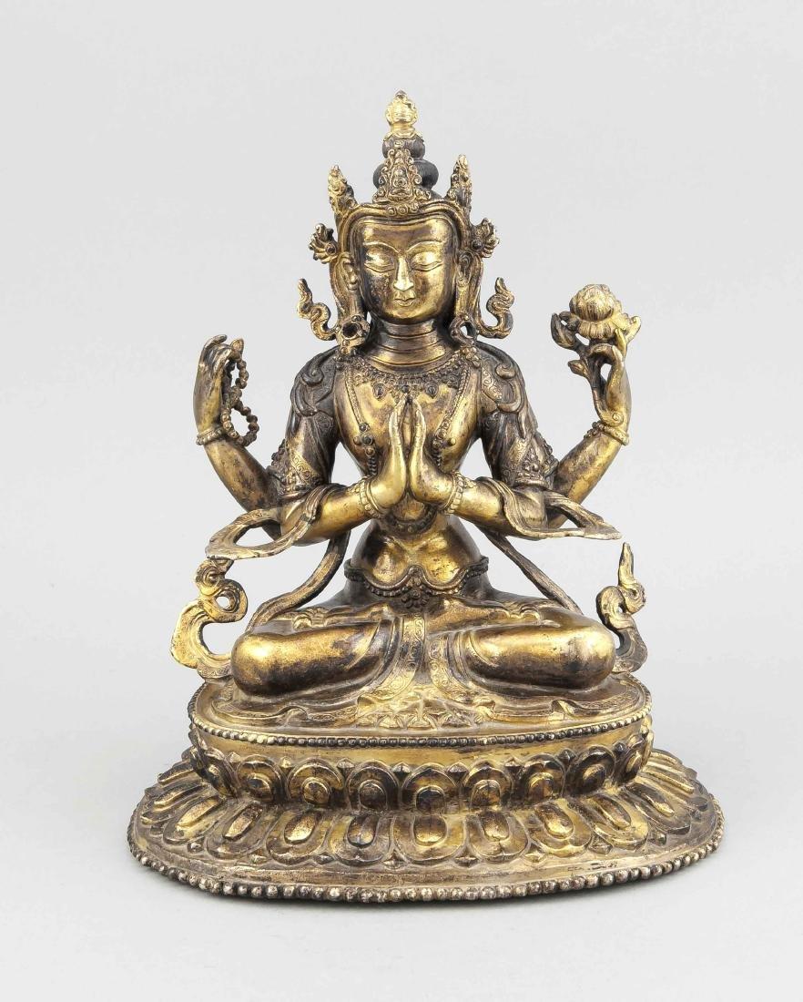 Shadakshari Avalokiteshvara, China 19./20.Jh., Bronze