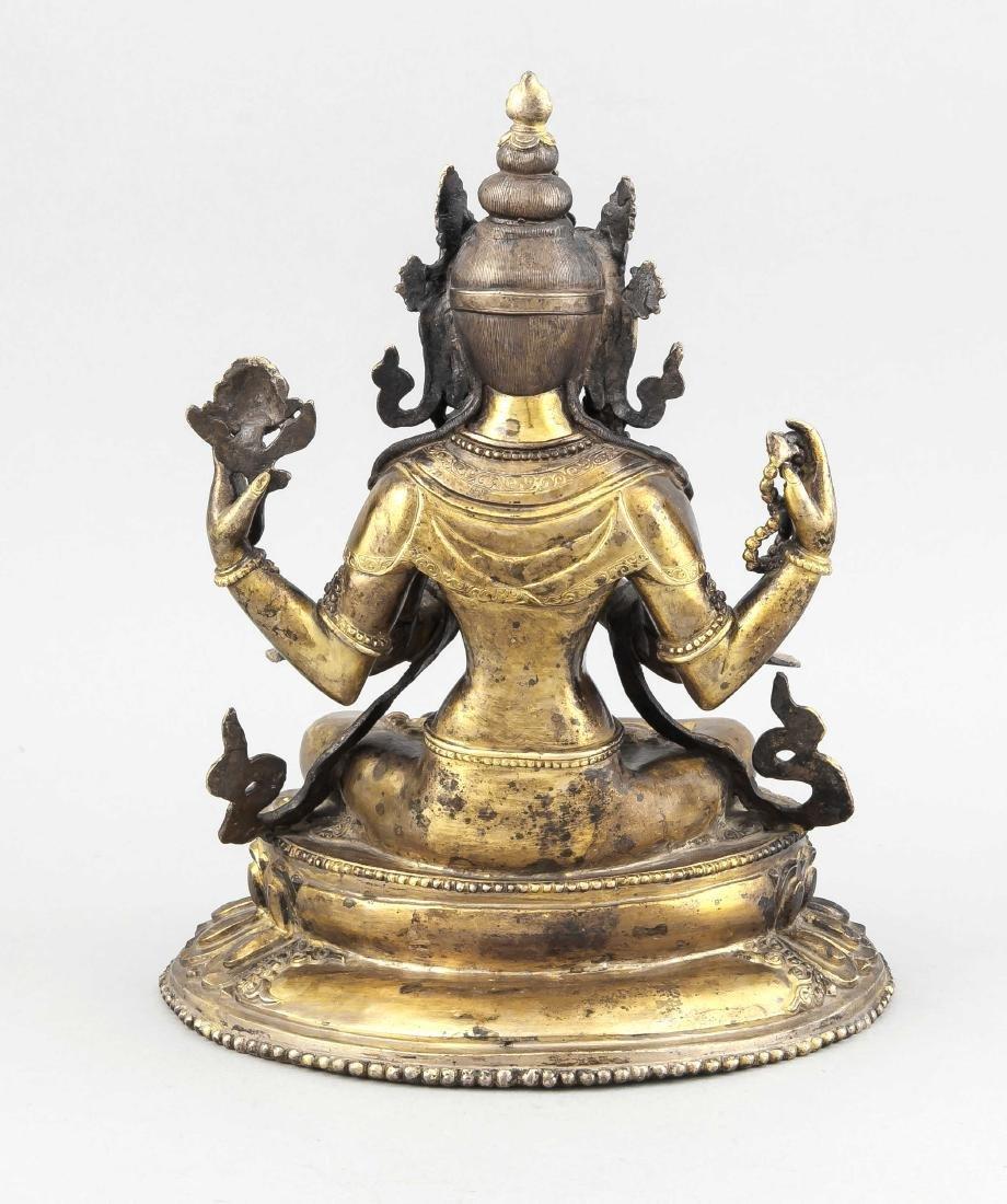 Shadakshari Avalokiteshvara, China 19./20.Jh., Bronze - 2