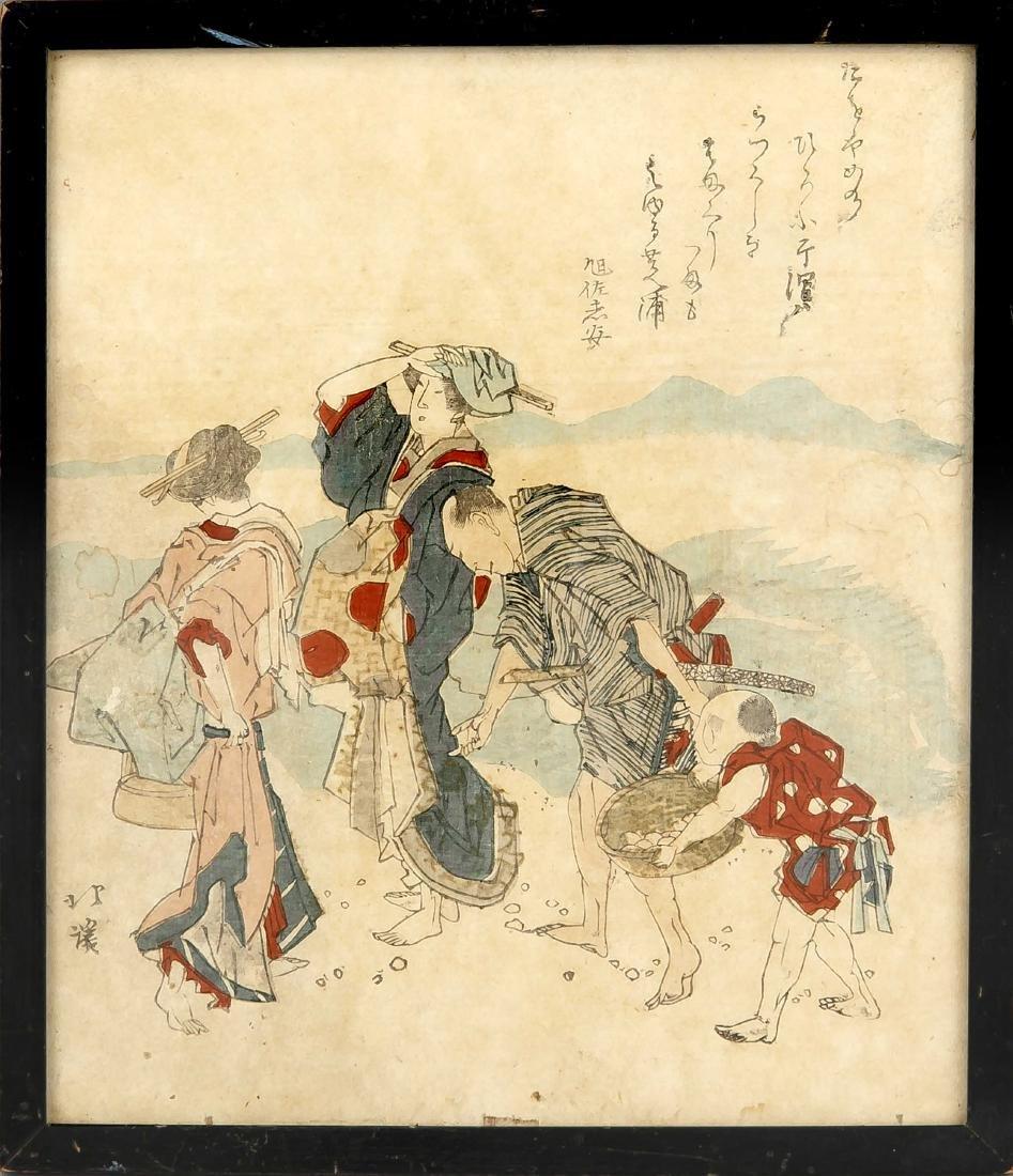 Farbholzschnitt (Surimono), Japan, 19. Jh., bez.