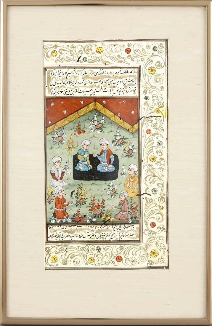 Persische Miniatur, 17./18. Jh., opake Wasserfarben auf