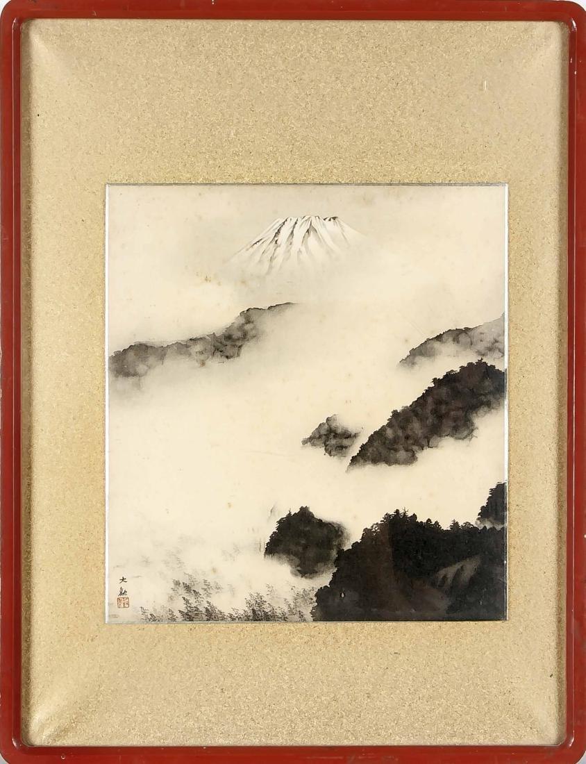 Tuschemalerei, Japan um 1900, nebelige Berglandschaft