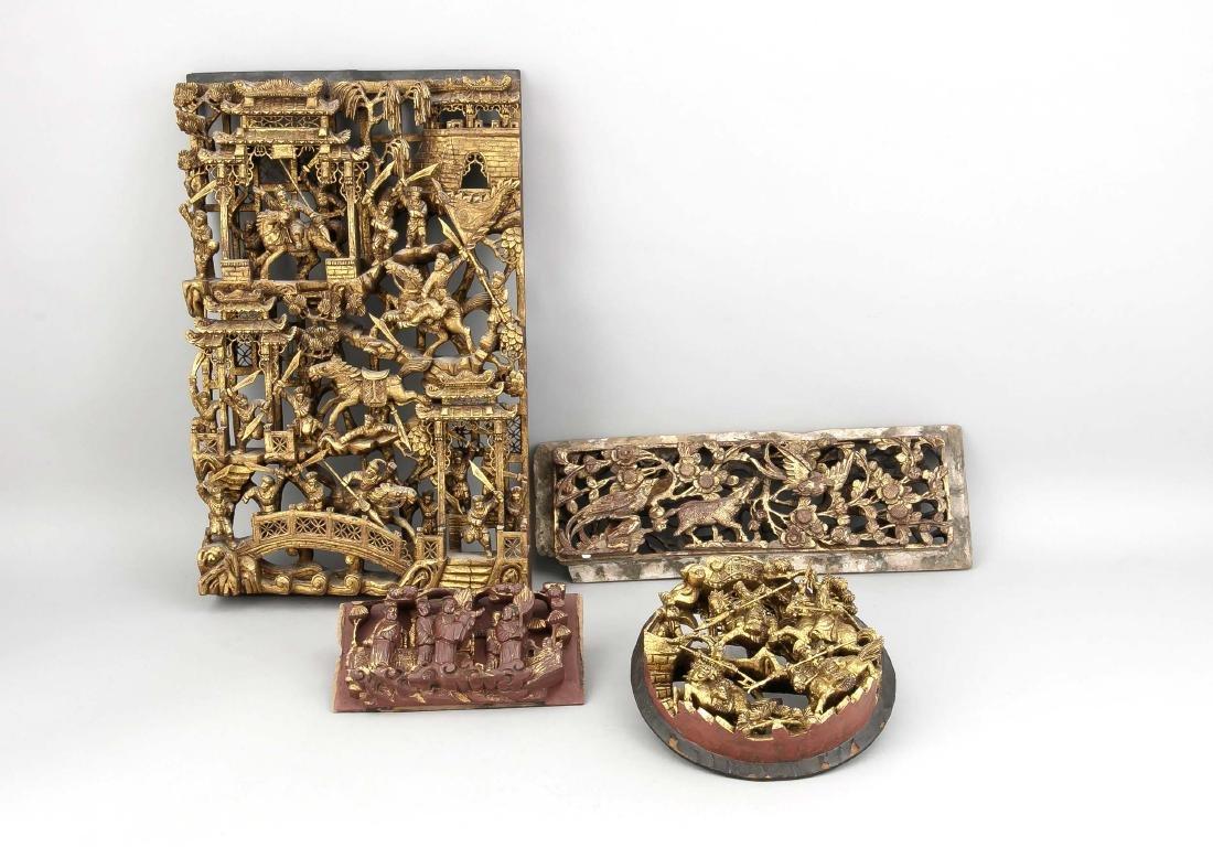 Vier Schnitzereien, China, 20. Jh., Holz, geschnitzt,
