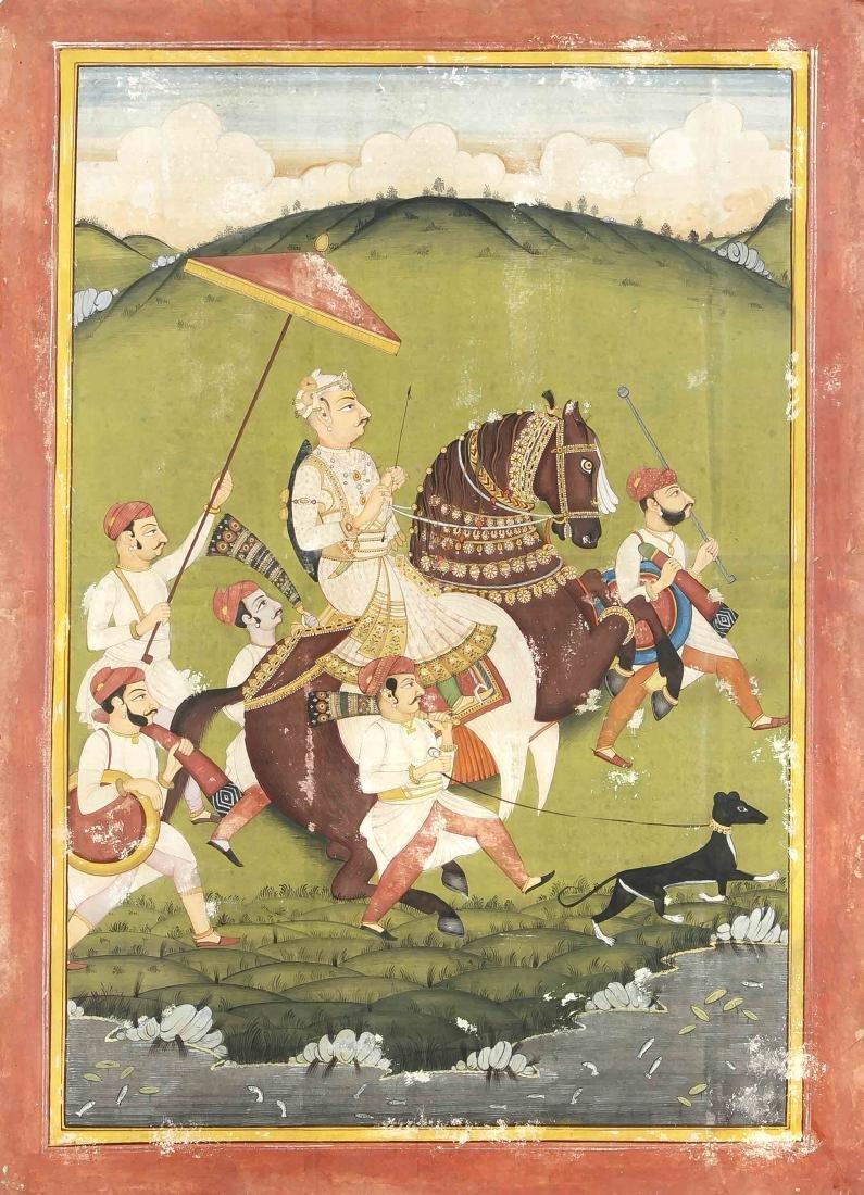 Miniaturmalerei, Indien, Mewar-Schule, Ende 19. Jh.,