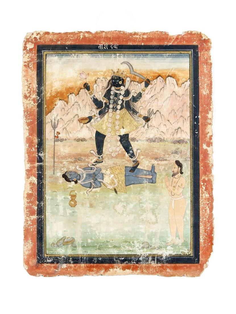 Pahari-Kangra-Schule, Indien, wohl 2. H. 19. Jh., Kali