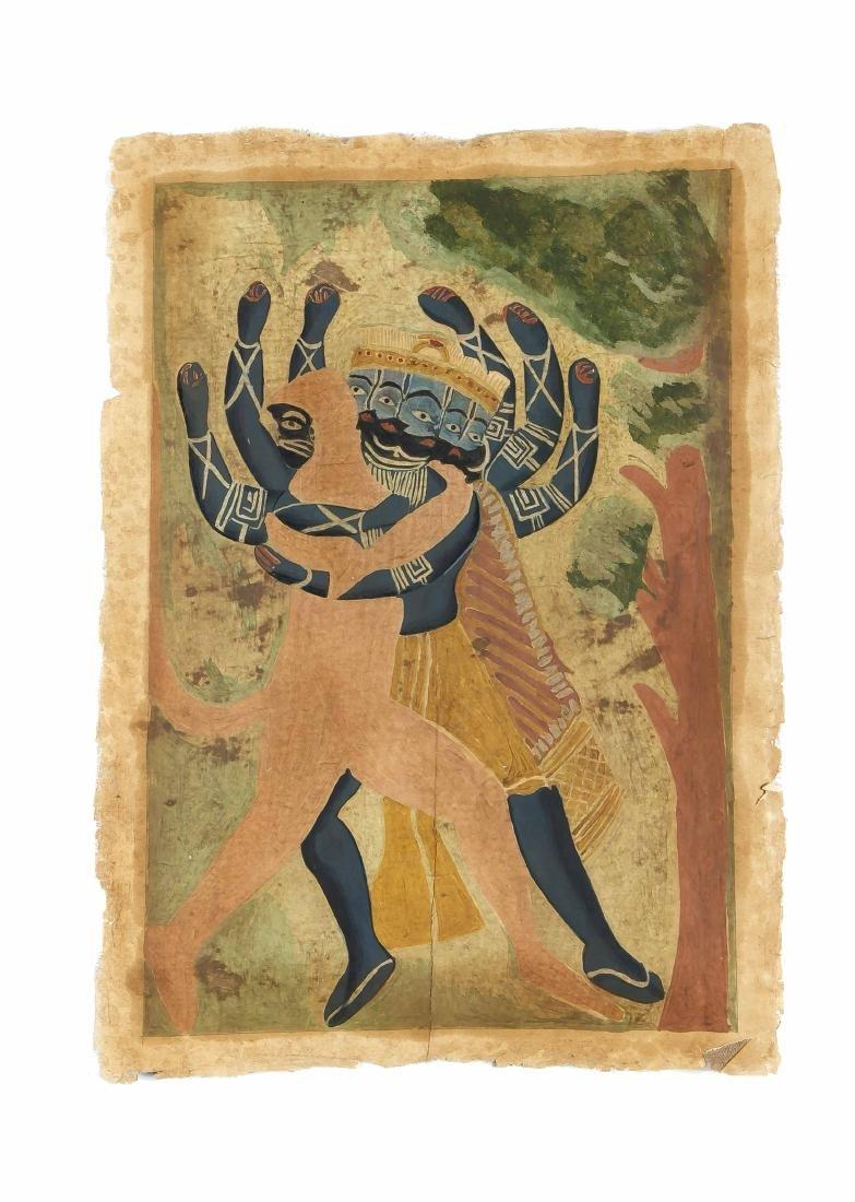 Indische Malerei, Kalligat-Schule um 1900, Hanuman mit