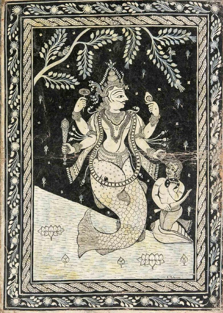 An Indian painting, Orissa school, early 20th c., black