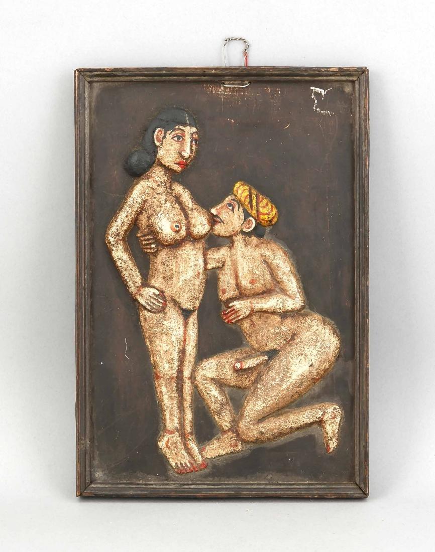 Erotische Schnitzerei, Indien um 1900. Polychrom