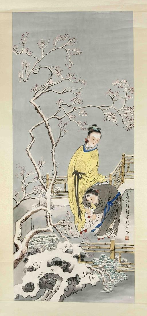 Rollbild, Japan, 20. Jh., Darstellung einer jungen Dame