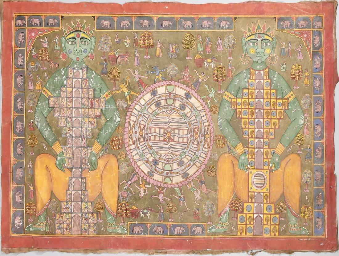Tantra-Pichwai, Indien, wohl 2. H. 19. Jh., Pigment auf