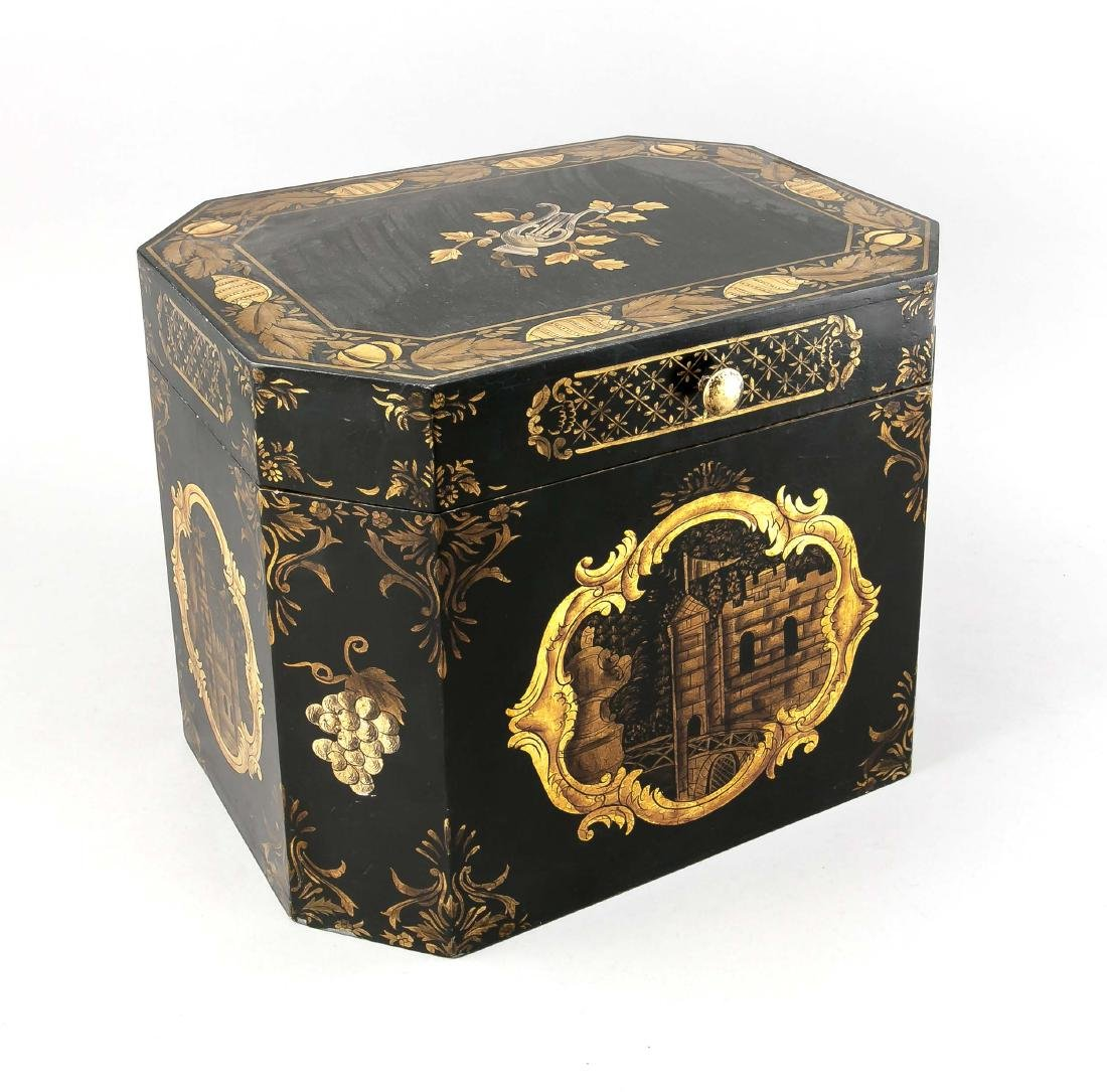A large tea box with wooden box in the Asian style, - 2