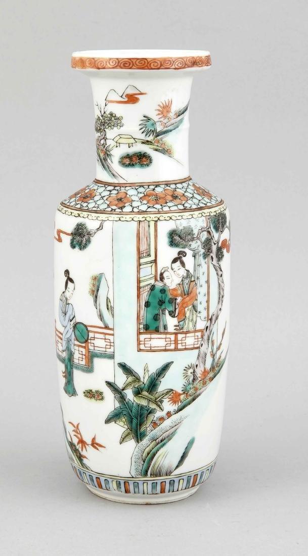 Famille-Vert-Vase, China 19. Jh., geschulterte Form,