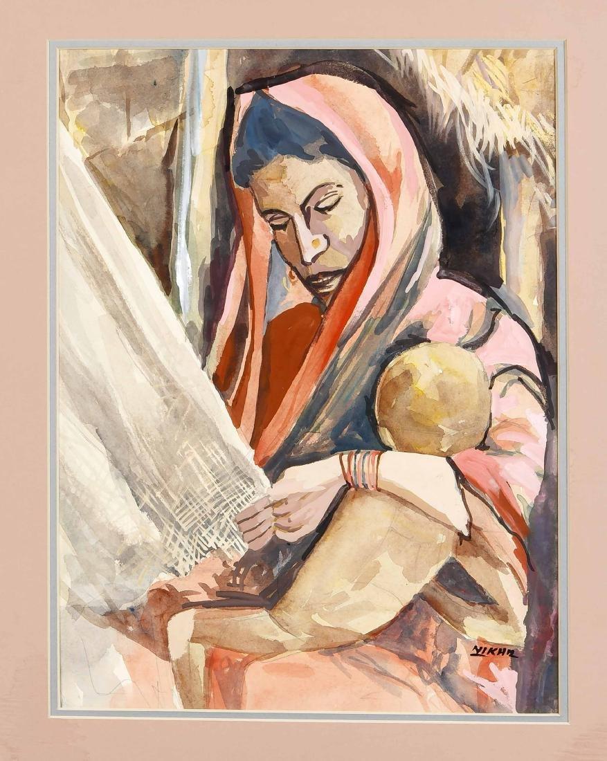 Nikhil Biswas (1930-1966), Indien, Gouache. Webende