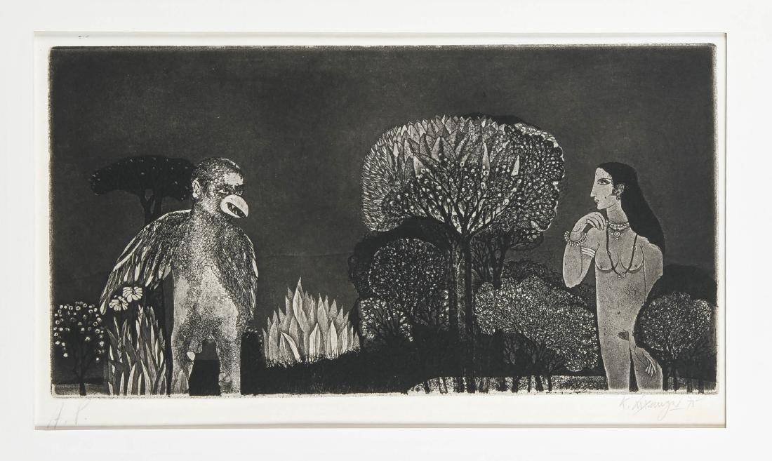 K. Laxma Goud (geb. 1940), Indien, Aquatinta, erotische