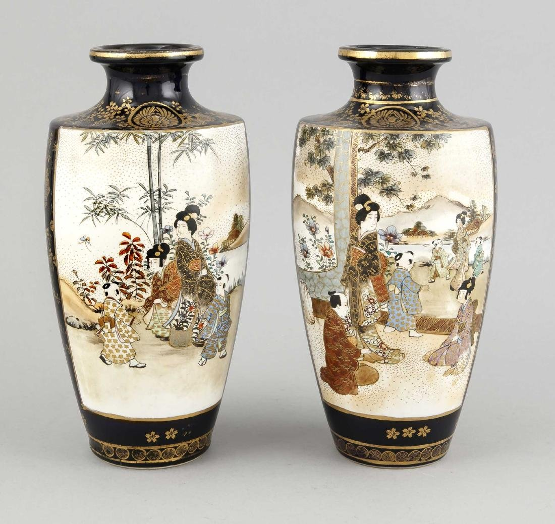 A pair of Japanese Satsuma vases, 1st h. 20th c., - 2