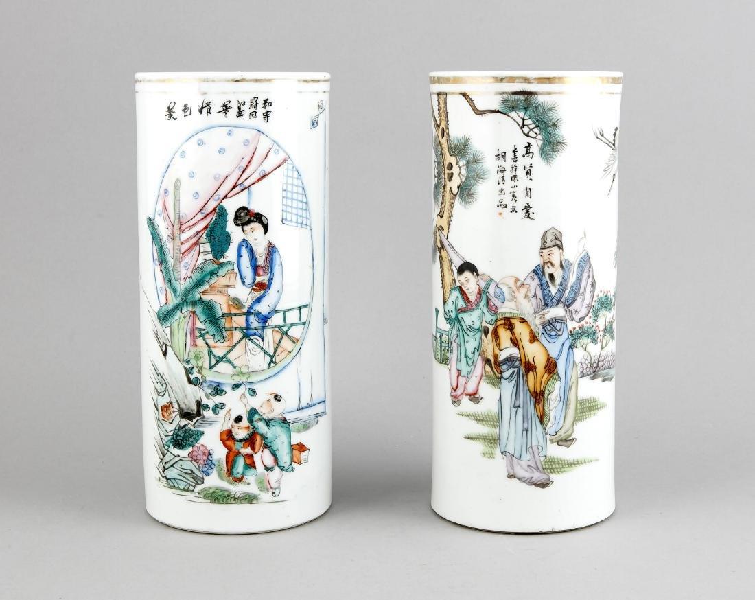 Two Chinese cylinder vases, 1950s/60s, porcelain with