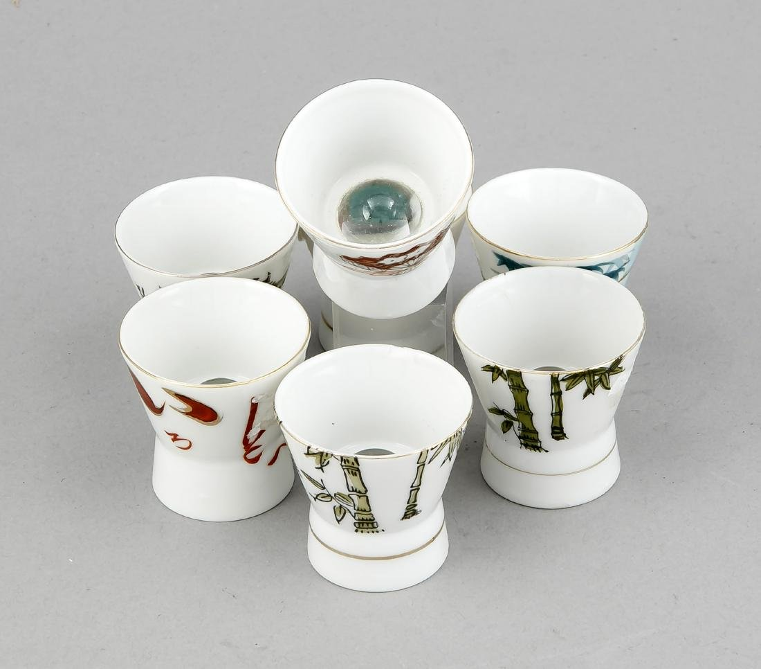 7 Sakebecher mit Lupenglas, China, 20. Jh.,