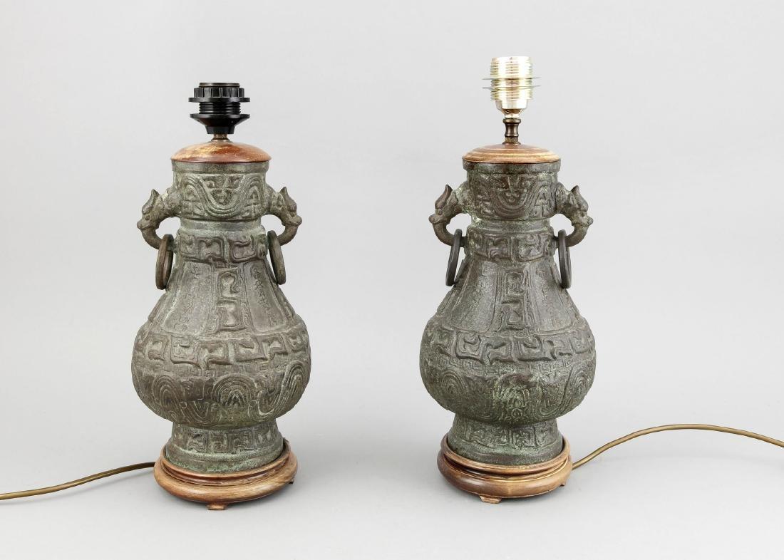 paar Vasen als Lampen montiert, China, 19./20. Jh.,