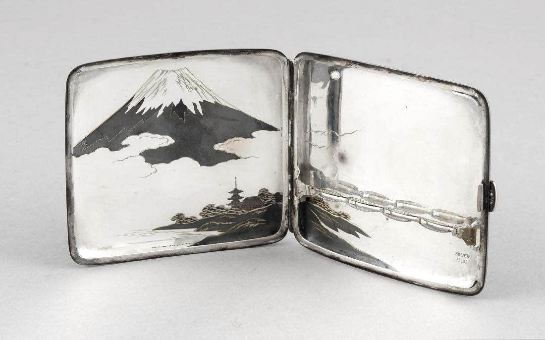 Niello-Zigarettenetui 950er Silber, Japan, Anf. 20. - 2