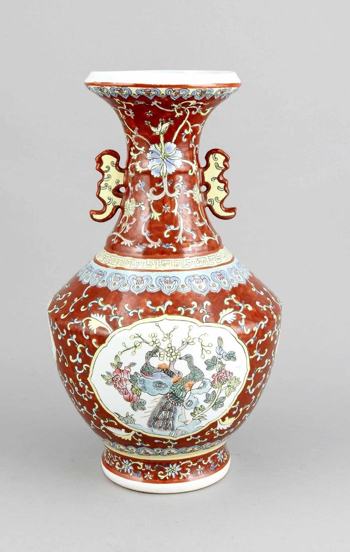 Vase, China, 20. Jh., Korpus mit 4 weißgrundigen
