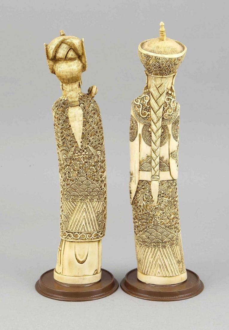 2 Beinfiguren, China, 19. Jh., Herrscherpaar mit reich - 2