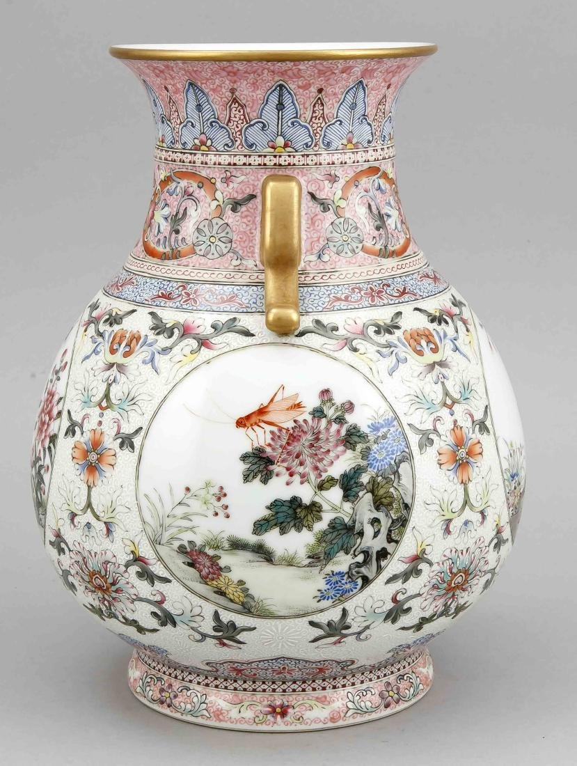 Famille-Rose-Vase, China, wohl 19. Jh., bauchige Form - 4