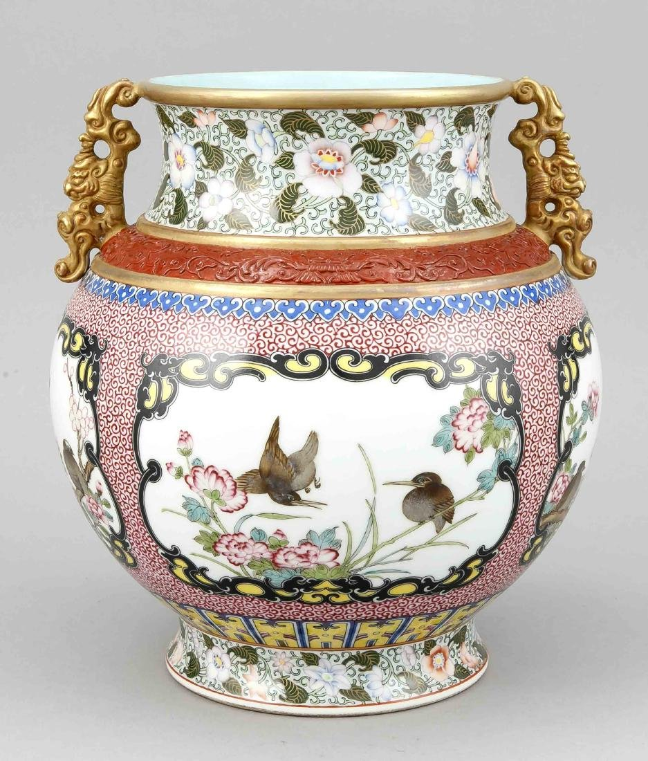 Famille-Rose-Vase, China, Mitte 20. Jh., bauchige Form - 2