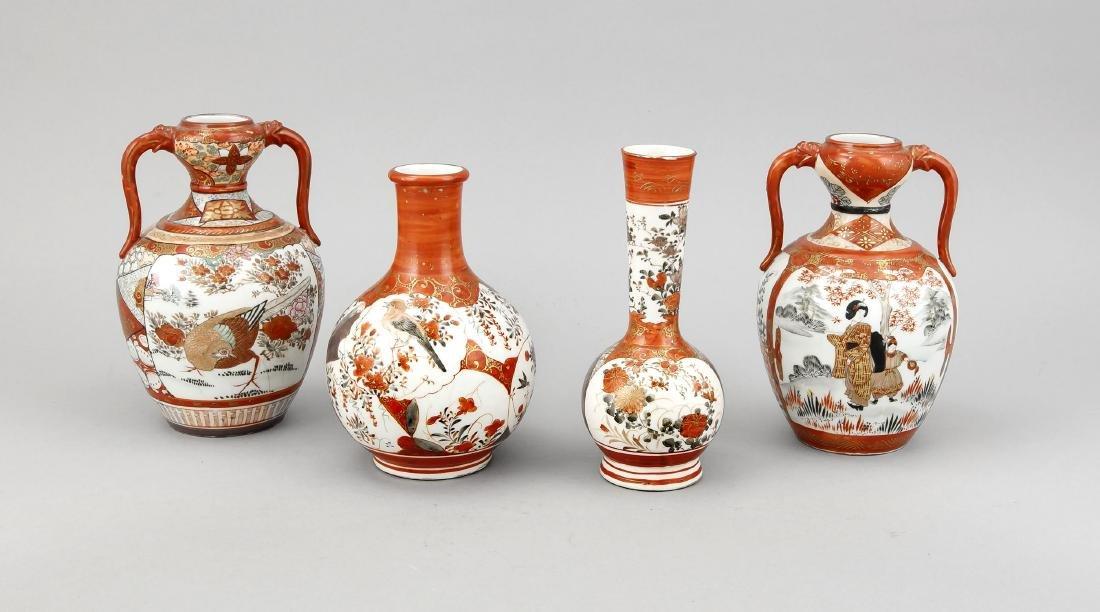 4 Kutani-Vasen, Japan, 19. Jh., 1 x Flaschenvase mit