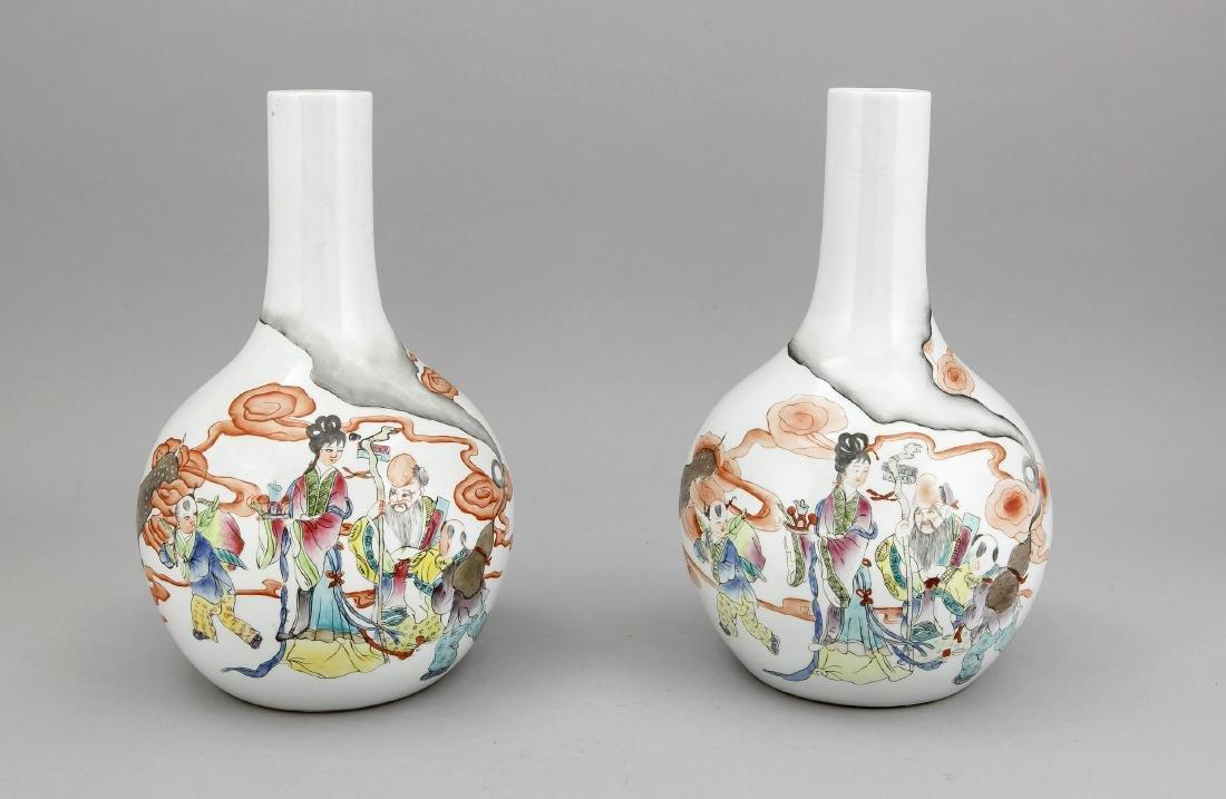 paar Tianqiuping-Vasen, China, Republik-Zeit, Dekor in