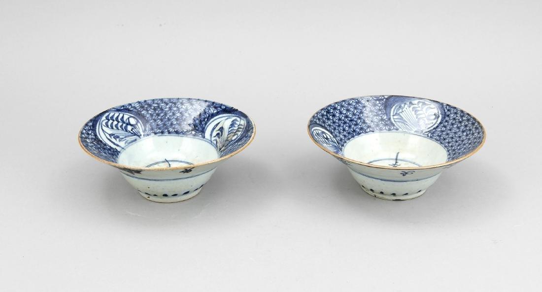 2 Schalen, China, 18./19. Jh., blauweißer Dekor
